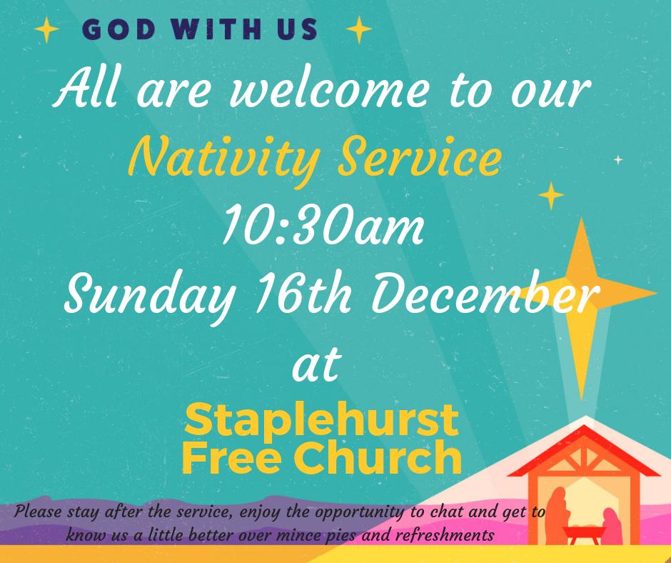 Nativity Service: Sunday 16th December 10:30am